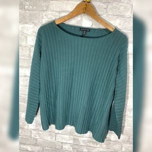 Eileen Fisher Green Womens Long Sleeve Blouse